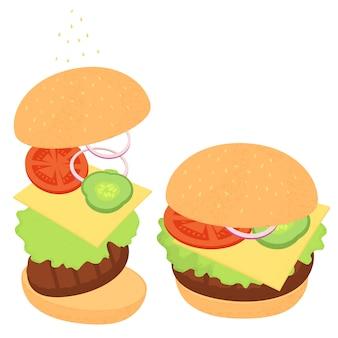 Cheeseburger z zieleniną i warzywami. zestaw składników do gotowania na białym tle