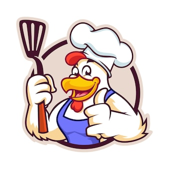 Chef chicken with sepatula badge version