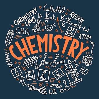 Chemia. edukacja gryzmoły i napis.