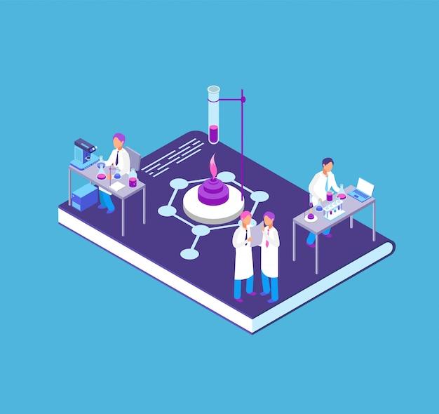 Chemia, farmaceutyczny 3d isometric pojęcie z chemicznym laboranckim wyposażeniem i ludzie badamy naukowa wektorową ilustrację