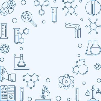 Chemia kwadrat tło z ikonami niebieski kontur chemiczny