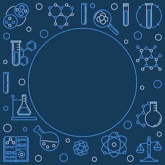 Chemia niebieskie tło z ikonami konspektu