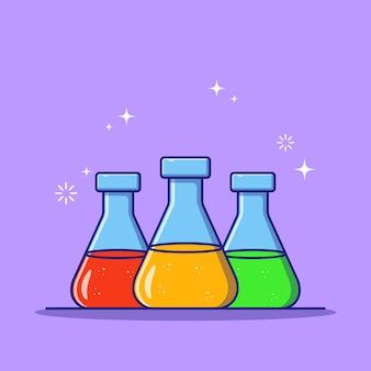 Chemia płaska kolba erlenmeyera kolorowy na białym tle.