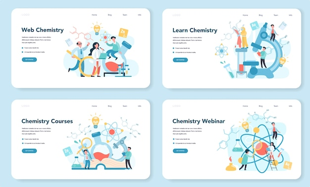 Chemia studiuje na seminarium internetowym lub kursie na banerach internetowych lub zestawach stron docelowych. eksperyment naukowy w laboratorium. sprzęt naukowy, edukacja chemiczna.