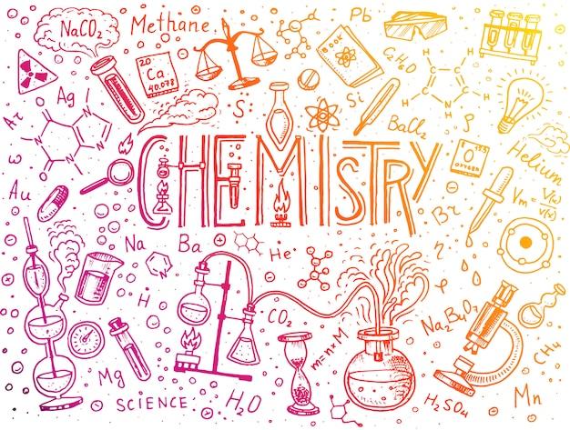 Chemia zestawu ikon. tablica z elementami, wzorami, atomem, probówką i sprzętem laboratoryjnym. laboratoryjne badania przestrzeni roboczej i reakcji. nauka, edukacja, medycyna. grawerowane ręcznie rysowane.