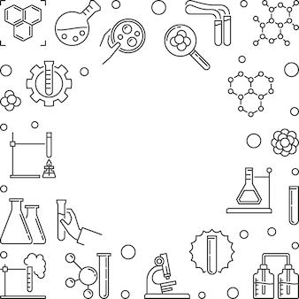 Chemiczna kontur ilustracja z ramą. tło wektor