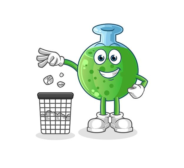 Chemiczna maskotka rzuć śmieci