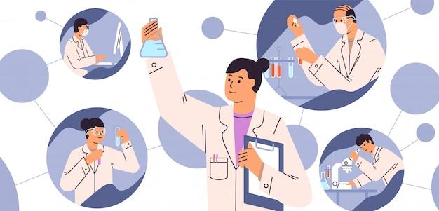 Chemiczne badania laboratoryjne. koncepcja odkrycia szczepionki. naukowcy z kolbami, mikroskopem i komputerem pracujący nad rozwojem leczenia przeciwwirusowego. ilustracja wektorowa w stylu cartoon płaski