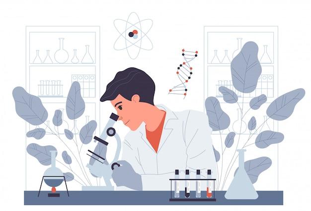 Chemik prowadzący eksperyment