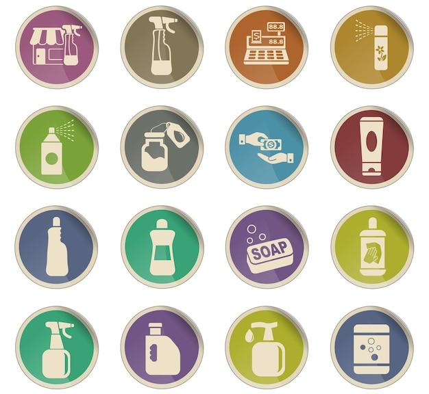 Chemikalia przechowują ikony internetowe w postaci okrągłych papierowych etykiet