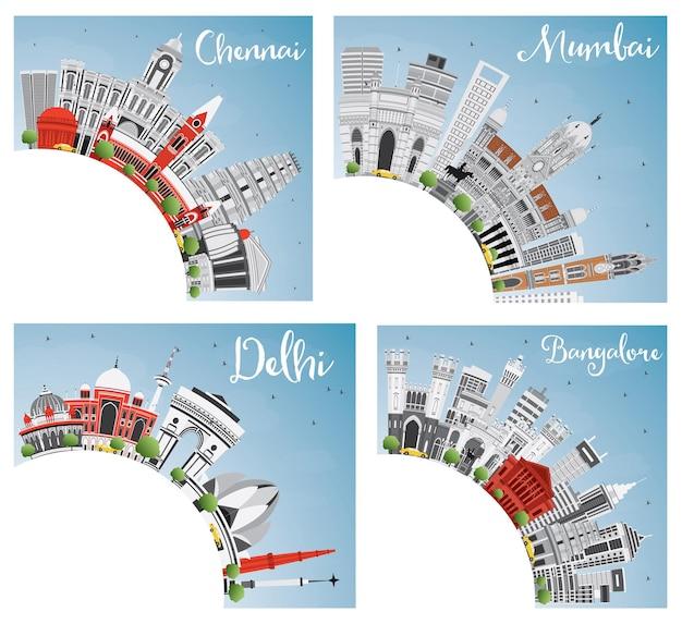 Chennai mumbai delhi i bangalore city skyline z szarymi punktami orientacyjnymi, błękitnym niebem i przestrzenią kopiowania