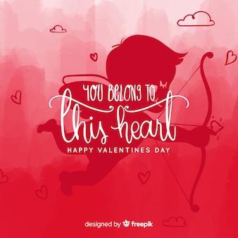 Cherubin sylwetki valentine tło