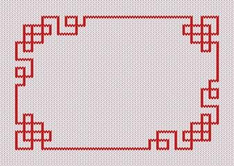 Chińska czerwieni rama na knited białym tle