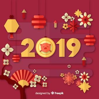 Chiński nowy rok tło z świnią