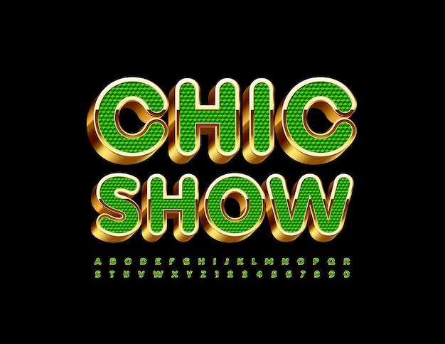 Chic show luksusowa, zielona i złota czcionka 3d artystyczne litery i cyfry