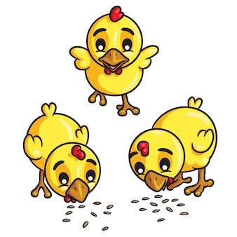 Chicks eat seeds cartoon