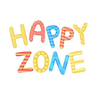 Children słów strefy szczęśliwy biały tło