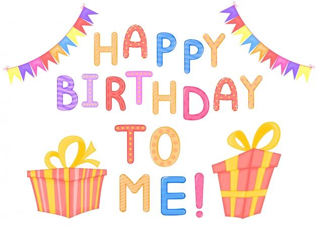 Children słów wszystkiego najlepszego z okazji urodzin ja biały tło