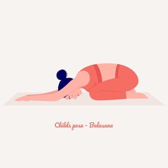 Childs yoga pose młoda kobieta ćwiczy ćwiczenia jogi