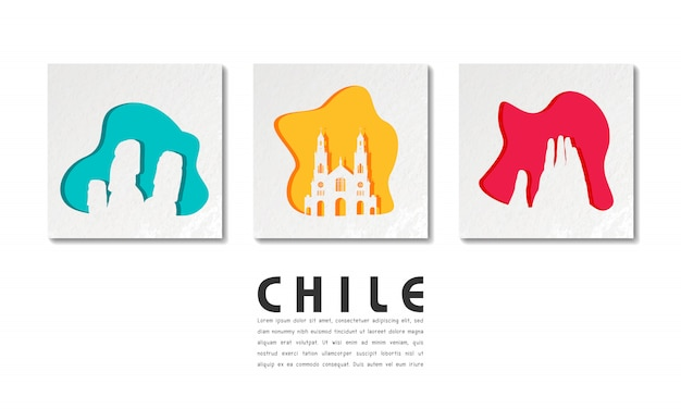 Chile landmark global travel and journey w cięcia papieru