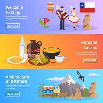 Chile płaskie poziome banery