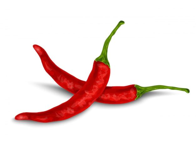 Chili pieprz odizolowywający na bielu