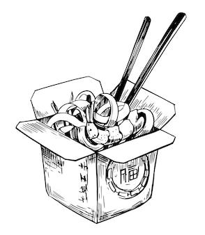 Chińczyk bez makaronu w pudełku ręcznie rysowana ilustracja przekonwertowana na wektor