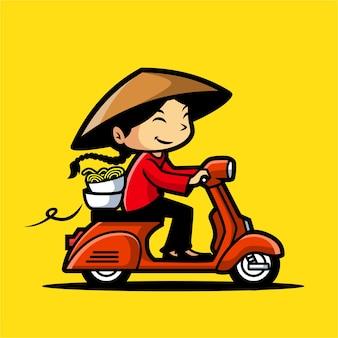 Chineese noodle deliver mascot design