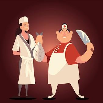 Chińscy szefowie kuchni płci męskiej i żeńskiej z ilustracji wektorowych ryb i noża