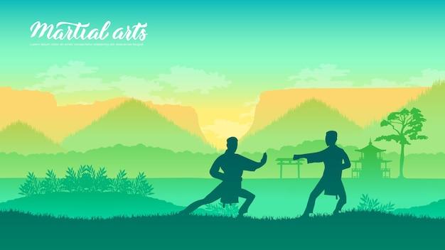 Chińscy wojownicy sztuk walki różnych narodów świata. tradycyjne walki bez broni.