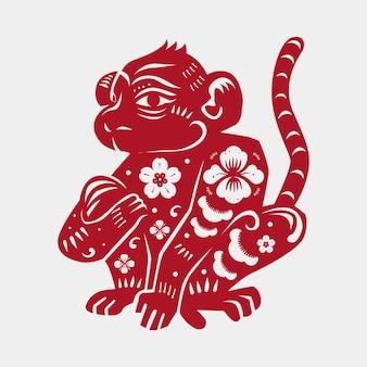 Chińska małpa wektor zwierzę naklejka czerwona ilustracja nowy rok