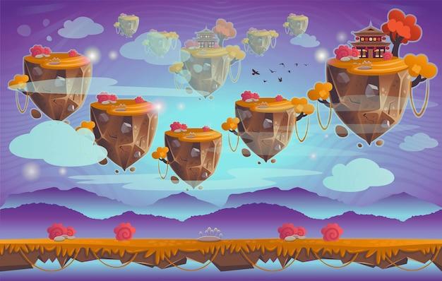Chińska pagoda na górze. ilustracja kreskówka. bezszwowe tło dla gier.