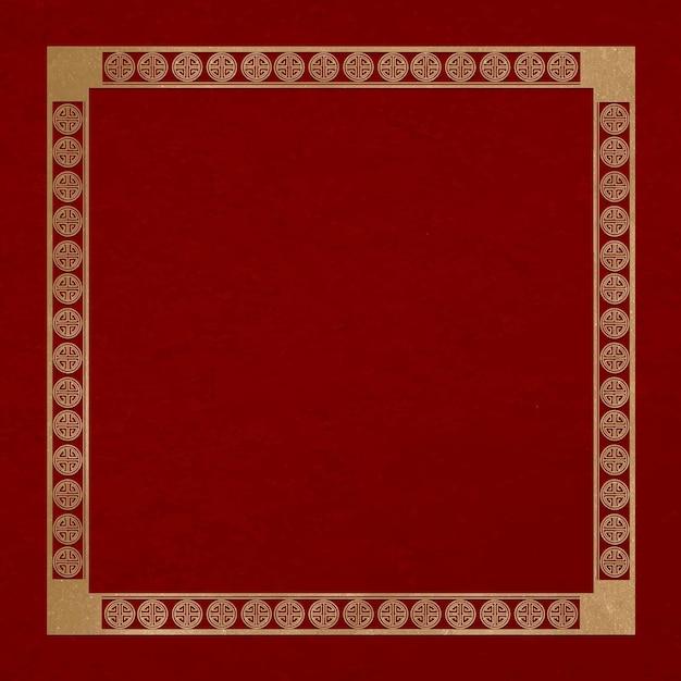 Chińska ramka lu symbol wektor wzór złoty kwadrat w motywie chińskiego nowego roku