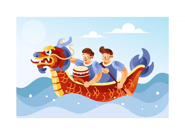 Chińska smok łodzi festiwalu ilustracja