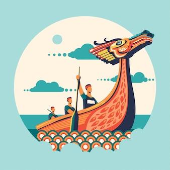 Chińska smok łodzi festiwalu wektoru ilustracja