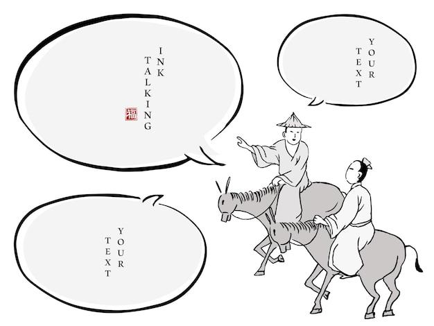 Chiński atrament wiadomości okno dialogowe szablon ludzie charakter w tradycyjnych strojach dwóch mężczyzn jeżdżących na koniu i rozmawiających ze sobą.