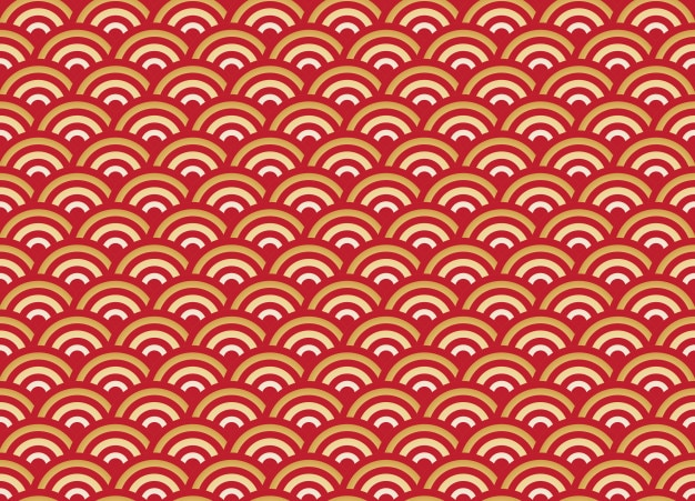 Chiński bez szwu wzór złota i czerwona fala