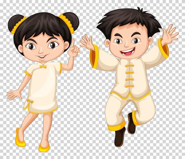 Chiński chłopiec i dziewczyna w tradycyjnym stroju