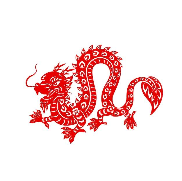 Chiński czerwony smok księżycowy nowy rok, wektor astrologiczne zwierzę zodiaku chin. papercut potężny smok z kwiatowym ornamentem na białym tle. astrologia azjatycki symbol tradycji kultury