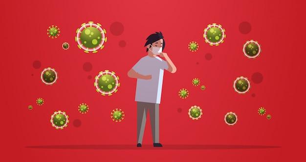 Chiński człowiek ubrany w maskę ochronną, aby zapobiec epidemii wirusa wuhan coronavirus pandemiczny medyczne ryzyko zdrowotne pełnej długości poziomej