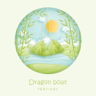 Chiński festiwal łodzi smoka z ryżowymi kluchami i bambusową dżunglą, rzeka. ilustracja stylu cięcia papieru.