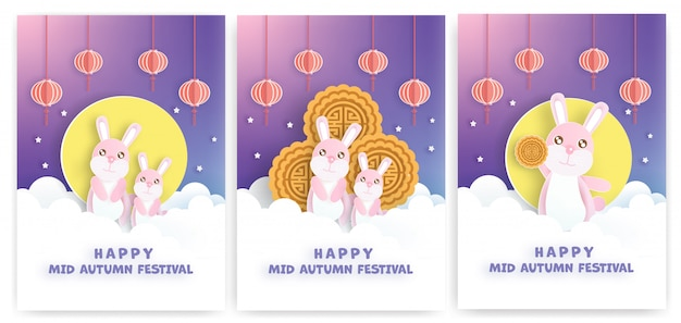 Chiński festiwal połowy jesieni w stylu cięcia papieru