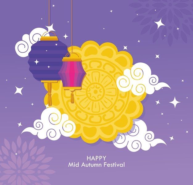 Chiński festiwal w połowie jesieni z wiszącymi ciastkami księżycowymi, chmurami i latarniami