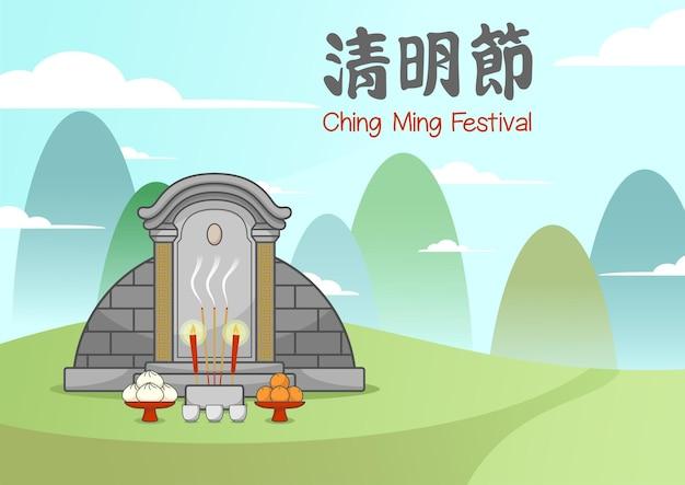 Chiński grób na festiwalu ching ming