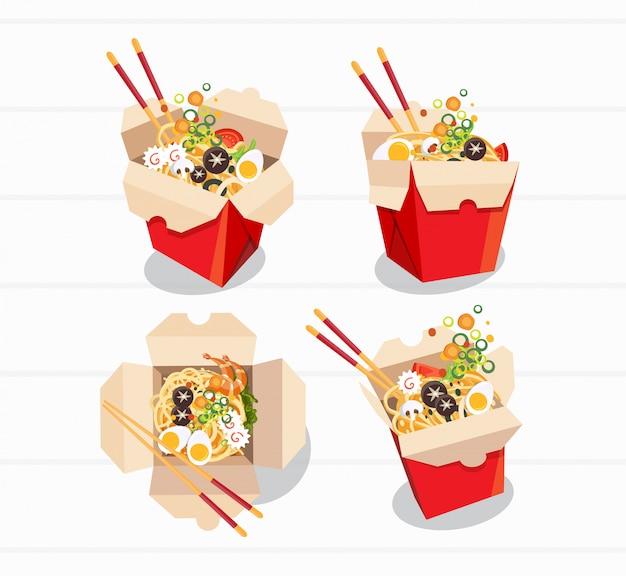 Chiński jedzenie bierze oddalonego pudełko, zabiera pudełkowatych kluski, wektorowa ilustracja