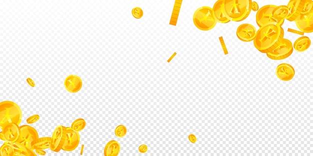 Chiński juan monety spadają. drobne rozproszone monety cny. chińskie pieniądze. urzekająca koncepcja jackpota, bogactwa lub sukcesu. ilustracja wektorowa.