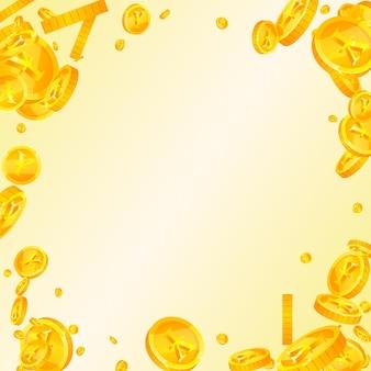 Chiński juan monety spadają. fantazyjne rozproszone monety cny. chińskie pieniądze. wspaniały jackpot, bogactwo lub koncepcja sukcesu. ilustracja wektorowa.