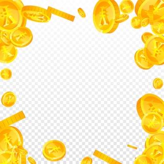 Chiński juan monety spadają. fantazyjne rozproszone monety cny. chińskie pieniądze. zapierająca dech w piersiach koncepcja jackpota, bogactwa lub sukcesu. ilustracja wektorowa.