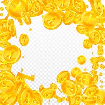 Chiński juan monety spadają. wspaniałe rozproszone monety cny. chińskie pieniądze. wspaniała koncepcja jackpota, bogactwa lub sukcesu. ilustracja wektorowa.