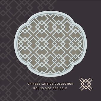 Chiński krata maswerk okienny okrągły rama boczna diamentowego krzyża